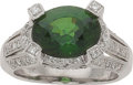 Estate Jewelry:Rings, Chrome Diopside, Diamond, White Gold Ring. ...