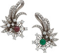 Estate Jewelry:Earrings, Diamond, Emerald, Ruby, Platinum Earrings. ...