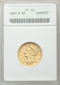 Liberty Half Eagles, 1845-D $5 XF40 ANACS. Variety 13-H (formerly 12-I)....