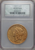 Liberty Double Eagles, 1850-O $20 -- Scratched -- NCS. AU Details. Variety 3....