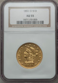 Liberty Eagles, 1851-O $10 AU55 NGC. Variety 2....