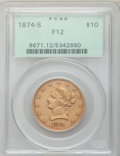 Liberty Eagles: , 1874-S $10 Fine 12 PCGS. PCGS Population (3/71). NGC Census: (2/86). Mintage: 10,000. Numismedia Wsl. Price for problem fre...