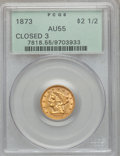 Liberty Quarter Eagles: , 1873 $2 1/2 Closed 3 AU55 PCGS. PCGS Population (48/261). NGCCensus: (34/496). Mintage: 55,225. Numismedia Wsl. Price for ...