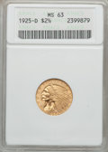 1925-D $2 1/2 MS63 ANACS. NGC Census: (4357/4593). PCGS Population (3168/2806). Mintage: 578,000. Numismedia Wsl. Price...