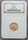 Indian Quarter Eagles: , 1908 $2 1/2 MS62 NGC. NGC Census: (2652/3324). PCGS Population(1262/3332). Mintage: 564,800. Numismedia Wsl. Price for pro...