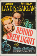 "Movie Posters:Mystery, Behind Green Lights (20th Century Fox, 1946). One Sheet (27"" X41""). Mystery.. ..."