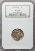 Buffalo Nickels: , 1913 5C Type Two MS64 NGC. NGC Census: (708/391). PCGS Population(1032/744). Mintage: 29,858,700. Numismedia Wsl. Price fo...