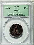 Proof Seated Quarters: , 1866 25C Motto PR62 PCGS. PCGS Population (28/78). NGC Census:(13/96). Mintage: 725. Numismedia Wsl. Price for problem fre...