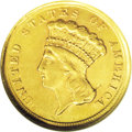 Three Dollar Gold Pieces: , 1854-D $3 AU55 ANACS. This is the only Dahlonega Mint three-dollargold coin issue, and the first year of issue for the den...