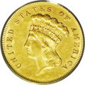 Three Dollar Gold Pieces: , 1864 $3 MS62 PCGS. The 1864 (2,630 business strikes) three dollaris considered elusive in all grades. While a sizeable per...