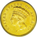 Three Dollar Gold Pieces: , 1880 $3 MS64 PCGS. This is an important date from a tiny mintage ofjust 1,000 business strikes, as well as an additional 3...