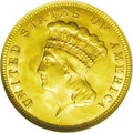 Three Dollar Gold Pieces: , 1888 $3 MS63 NGC. This coin is highly lustrous and shows lovely,deep green-gold and pink-orange color. Well struck, the su...