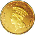 Proof Three Dollar Gold Pieces: , 1876 $3 PR64 PCGS. Unlike many other dates within the three dollargold series, there is no difficulty distinguishing 1876 ...