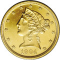 Proof Liberty Half Eagles: , 1904 $5 PR63 PCGS. This intricately struck Select specimen featuresradiant yellow-gold motifs that contrast with glassy, f...