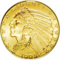 Indian Half Eagles: , 1909 $5 MS66 PCGS. The opportunity to bid on any Indian half eagle at this grade level rarely presents itself, with a PCGS ...