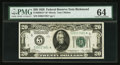 Fr. 2050-E* $20 1928 Federal Reserve Note. PMG Choice Uncirculated 64