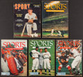 Miscellaneous Collectibles:General, 1953-55 Sports Illustrated and Sport Magazines Lot of 5 - OneSigned by Mickey Mantle....