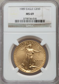 Modern Bullion Coins: , 1989 G$50 One-Ounce Gold Eagle MS69 NGC. NGC Census: (831/5). PCGS Population (664/9). Mintage: 415,790. Numismedia Wsl. Pr...