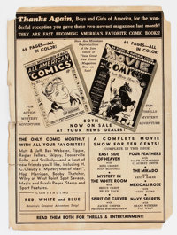 Golden Age-Era Detached Back Cover to Unknown Comic (DC, circa 1939)
