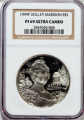 Modern Issues: , 1999-P $1 Dolley Madison Silver Dollar PR69 Ultra Cameo NGC. NGCCensus: (1999/422). PCGS Population (2578/275). Numismedi...