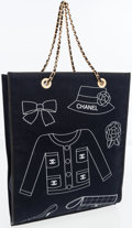 Luxury Accessories:Bags, Chanel Navy Canvas Iconic Symbols Shopper Bag. ...