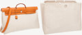 Luxury Accessories:Accessories, Hermes Vache Naturale & Sand Toile Herbag GM Top Handle Bagwith Shoulder Strap. ...
