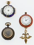 Timepieces:Pendant , Three Swiss Pendant Watches. ... (Total: 3 Items)
