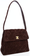Luxury Accessories:Bags, Chanel Brown Quilted Suede Shoulder Bag with Gold Hardware. ...
