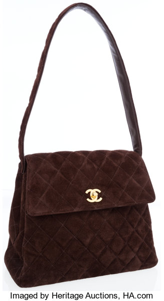 62fc3f1c05 Luxury Accessories:Bags, Chanel Brown Quilted Suede Shoulder Bag with Gold  Hardware.
