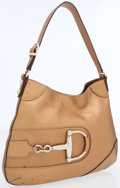 Luxury Accessories:Bags, Gucci Metallic Bronze Leather Horsebit Shoulder Bag. ...