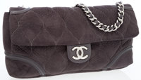 Chanel Gray Microsuede Oversize Flap Bag with Silver Hardware