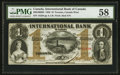 Canadian Currency: , Toronto, CW- The International Bank of Canada $1 Sept. 15, 1858 Ch.# 380-10-08-04. ...