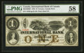 Canadian Currency: , Toronto, CW- The International Bank $1 Sept. 15, 1858 Ch. #380-10-08-08. ...