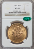 Liberty Double Eagles: , 1895 $20 MS63 NGC. CAC. NGC Census: (3275/498). PCGS Population(1709/244). Mintage: 1,114,656. Numismedia Wsl. Price for p...