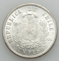 Chile, Chile: Republic Lot of Three Pesos 1874-1927,... (Total: 3 coins)