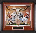 Football Collectibles:Photos, University of Texas Longhorns Football Greats Multi SignedOversized Photograph....