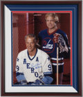 Hockey Collectibles:Photos, Gordie Howe and Bobby Hull Multi Signed Oversized Photograph....