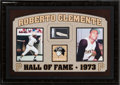 Baseball Collectibles:Photos, Roberto Clemente Signed Cut Signature Display....