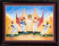 """Baseball Collectibles:Others, """"The Kings"""" Multi Signed Oversized Print - Ryan, Aaron, Rose and Henderson...."""