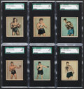 Boxing Cards:General, 1951 Berk Ross Boxing SGC Graded Complete Run (6). ...