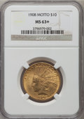 Indian Eagles, 1908 $10 Motto MS63+ NGC....