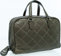 Luxury Accessories:Bags, Chanel Forest Green Quilted Lambskin Leather Bowling Bag withMetallic Stitching. ...