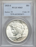 Peace Dollars: , 1935-S $1 MS63 PCGS. PCGS Population (1085/2182). NGC Census:(625/1366). Mintage: 1,964,000. Numismedia Wsl. Price for pro...