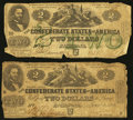 Confederate Notes:1862 Issues, T42 $2 1862 PF-3 Cr. 336. T43 $2 1862 PF-1 Cr. 338.. ... (Total: 2notes)