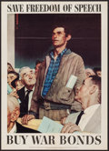 "Movie Posters:War, Norman Rockwell World War II Propaganda (U.S. Government PrintingOffice, 1943). OWI Poster No. 44 (20"" X 28"") ""Save Freedom..."