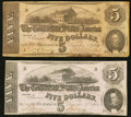 Confederate Notes:1862 Issues, T53 $5 1862 PF-2 Cr. 382 Two Examples.. ... (Total: 2 notes)