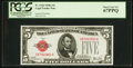 Small Size:Legal Tender Notes, Fr. 1526 $5 1928A Legal Tender Note. PCGS Superb Gem New 67PPQ.. ...