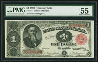Fr. 351 $1 1891 Treasury Note PMG About Uncirculated 55