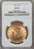 Liberty Double Eagles: , 1899 $20 MS64 NGC. NGC Census: (1530/76). PCGS Population (452/20).Mintage: 1,669,384. Numismedia Wsl. Price for problem f...
