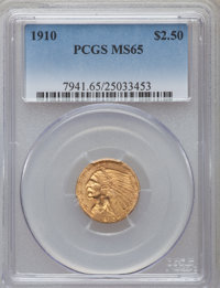1910 $2 1/2 MS65 PCGS. PCGS Population (100/8). NGC Census: (169/13). Mintage: 492,000. Numismedia Wsl. Price for proble...